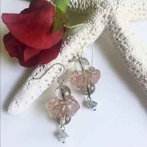 Sterling Silver Peach Flower Earrings